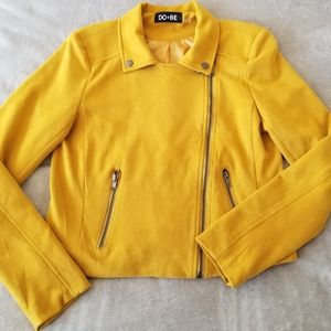 DO+BE Faux Suede Yellow Moto Jacket Sm